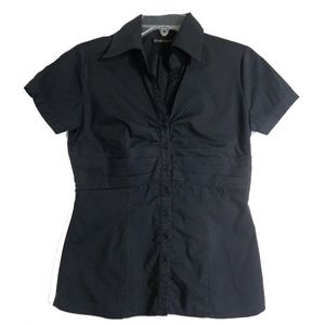 New York & Company Top Sz 4 Black Button Down